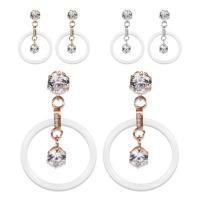 Porzellan-Ohrringe, Porzellan, mit Edelstahl, plattiert, für Frau & mit Strass, keine, 24x37mm, verkauft von Paar