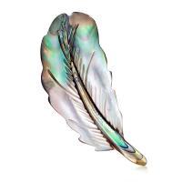 Zinklegierung Brosche, mit Seeohr Muschel, Federn, silberfarben plattiert, für Frau, frei von Nickel, Blei & Kadmium, 32x57mm, 3PCs/Menge, verkauft von Menge