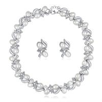 Zinklegierung Hochezeit Set, Ohrring & Halskette, mit Kunststoff Perlen, mit Verlängerungskettchen von 2inch, silberfarben plattiert, für Braut & einstellbar & mit Strass, frei von Nickel, Blei & Kadmium, 17x25mm, Länge:ca. 15.5 ZollInch, 3SetsSatz/Menge, verkauft von Menge