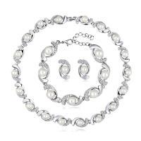 Zinklegierung Hochezeit Set, Armband & Ohrring & Halskette, mit Kunststoff Perlen, mit Verlängerungskettchen von 2inch, silberfarben plattiert, für Braut & einstellbar & mit Strass, frei von Nickel, Blei & Kadmium, 17x32mm, Länge:ca. 7 ZollInch, ca. 15.5 ZollInch, 3SetsSatz/Menge, verkauft von Menge