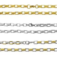 Halskette, Edelstahl, plattiert, Rechteck-Kette & für Frau, keine, 9x3mm, verkauft per ca. 24 ZollInch Strang