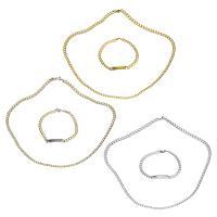 Edelstahl Schmucksets, Armband & Halskette, plattiert, Kandare Kette & für Frau, keine, 34x6mm, 5.5mm, Länge:ca. 23.5 ZollInch, ca. 8.5 ZollInch, verkauft von setzen
