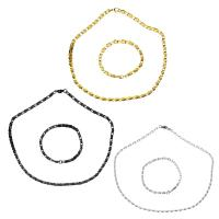 Edelstahl Schmucksets, Armband & Halskette, plattiert, Kastenkette & für Frau, keine, 5x2.5mm, 5x2.5mm, Länge:ca. 20 ZollInch, ca. 8 ZollInch, verkauft von setzen