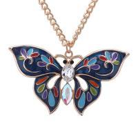 Zinklegierung Pullover Halskette, mit Glas, mit Verlängerungskettchen von 5cm, Schmetterling, plattiert, Koreanischen Stil & Twist oval & für Frau & Emaille, keine, frei von Blei & Kadmium, 31x51mm, verkauft per ca. 23.63 ZollInch Strang