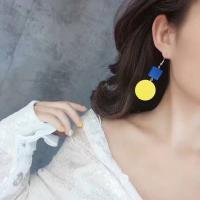 Zinklegierung Tropfen Ohrring, mit Holz, Sterling Silber Stecker, Platinfarbe platiniert, für Frau, frei von Blei & Kadmium, 70x30mm, verkauft von Paar