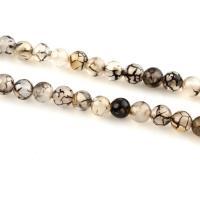 Natürliche Drachen Venen Achat Perlen, Drachenvenen Achat, rund, verschiedene Größen vorhanden, weiß und schwarz, verkauft per ca. 15 ZollInch Strang