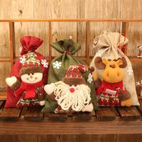 Weihnachtsgeschenkbeutel, Stoff, Weihnachtsschmuck & verschiedene Stile für Wahl, 200x280mm, 10PCs/Menge, verkauft von Menge