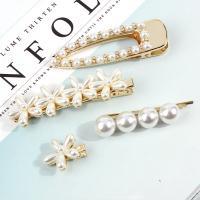 Schnabelspange, Zinklegierung, mit Kunststoff Perlen, goldfarben plattiert, verschiedene Stile für Wahl & für Frau, frei von Nickel, Blei & Kadmium, 80x25mm, 65x15mm, 83x25mm, verkauft von PC