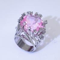 Messing Fingerring, mit Rosenquarz, platiniert, verschiedene Größen vorhanden & für Frau, verkauft von PC