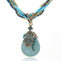 Zinklegierung Halskette, mit Seedbead & Nylonschnur & Harz, antike Goldfarbe plattiert, mehrschichtig & für Frau & mit Strass, keine, 70x30mm, verkauft per ca. 15.5 ZollInch Strang