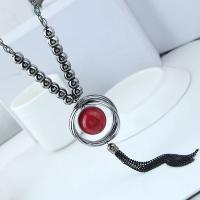Zinklegierung Pullover Halskette, mit Harz, für Frau, frei von Blei & Kadmium, 140x40mm, verkauft per ca. 27.5 ZollInch Strang