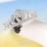 Zirkonia Micro Pave Sterling Silber Ringe, 925er Sterling Silber, Krone, platiniert, Micro pave Zirkonia & für Frau, Größe:6, verkauft von PC