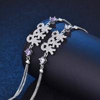 Messing Armband, silberfarben plattiert, Kastenkette & für Frau & mit Strass, keine, frei von Nickel, Blei & Kadmium, verkauft per ca. 7.5 ZollInch Strang