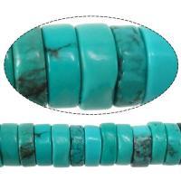 Sinkiang Türkis Perle, Rondell, verschiedene Größen vorhanden, Bohrung:ca. 0.8mm, verkauft von Strang