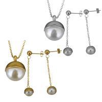 Edelstahl Schmucksets, Ohrring & Halskette, mit Glasperlen, mit Verlängerungskettchen von 2Inch, plattiert, Oval-Kette & für Frau, keine, 15x19mm, 1.5mm, 50mm, 9x11mm, Länge:ca. 17 ZollInch, verkauft von setzen