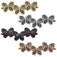Messing Schmuck Verbinder, Schmetterling, plattiert, Micro pave Zirkonia & 1/1-Schleife, keine, 33x12x3mm, Bohrung:ca. 1.5mm, verkauft von PC