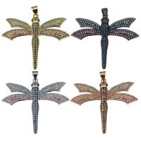 Befestigter Zirkonia Messing Anhänger, Libelle, plattiert, Micro pave Zirkonia, keine, 39x32.50x3mm, Bohrung:ca. 4mm, verkauft von PC