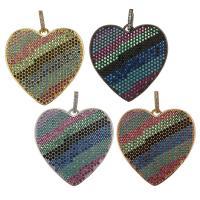 Messing Herz Anhänger, plattiert, Micro pave Zirkonia, keine, 30x30x2mm, Bohrung:ca. 3.5x5mm, verkauft von PC