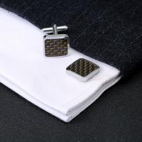 Messing Manschettenknöpfe, mit Kohlenstoff-Faser, Platinfarbe platiniert, für den Menschen, keine, 20x15x20mm, verkauft von Paar