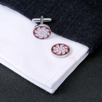 Messing Manschettenknöpfe, Platinfarbe platiniert, für den Menschen & Emaille & mit Strass, 20x15x20mm, verkauft von Paar