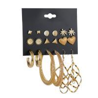 Zinklegierung Ohrring-Set, goldfarben plattiert, für Frau, frei von Nickel, Blei & Kadmium, 6mm, 12mm, 30mm, 78mm, 9PaarePärchen/Menge, verkauft von Menge