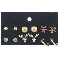 Zinklegierung Ohrring-Set, goldfarben plattiert, für Frau & mit Strass, frei von Nickel, Blei & Kadmium, 6mm, 10mm, 12mm, 16mm, 6PaarePärchen/Paar, verkauft von Paar