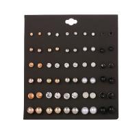 Zinklegierung Ohrstecker Set, mit Kunststoff Perlen, silberfarben plattiert, für Frau & mit Strass, 4mm, 6mm, 8mm, 10mm, 30PaarePärchen/Menge, verkauft von Menge