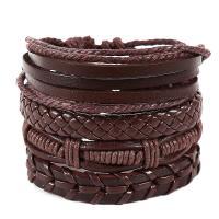 PU Leder Armband-Set, mit Hanfgarn, handgemacht, mehrschichtig & unisex & einstellbar, keine, Länge:ca. 7 ZollInch, 4SträngeStrang/Menge, verkauft von Menge