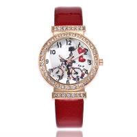 Damen Armbanduhr, PU Leder, mit Zinklegierung Zifferblatt & Glas, plattiert, für Frau & mit Strass, keine, frei von Nickel, Blei & Kadmium, 35mm, 15mm, Länge:ca. 10 ZollInch, verkauft von PC