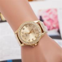 Damen Armbanduhr, Edelstahl, mit Zinklegierung Zifferblatt & Glas, plattiert, für Frau & mit Strass, keine, frei von Nickel, Blei & Kadmium, 45mm, 20mm, Länge:ca. 9.5 ZollInch, verkauft von PC
