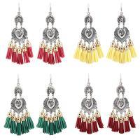 Zinklegierung Troddel Ohrring, mit Baumwollsamt, antik silberfarben plattiert, für Frau, keine, frei von Blei & Kadmium, 60x120mm, verkauft von Paar