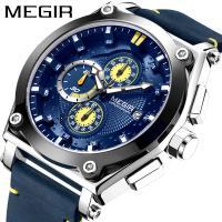 MEGIR® Herren Schmuckuhr, Leder, mit Glas & Zinklegierung, plattiert, für den Menschen, keine, 47mm, Länge:ca. 9 ZollInch, verkauft von PC