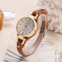 Damen Armbanduhr, PU Leder, mit Zinklegierung Zifferblatt & Glas, plattiert, für Frau, keine, frei von Nickel, Blei & Kadmium, 20mm, 6mm, Länge:ca. 9 ZollInch, verkauft von PC