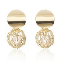 Zinklegierung Ohrringe, mit ABS-Kunststoff-Perlen, Edelstahl Stecker, goldfarben plattiert, für Frau, frei von Blei & Kadmium, 21x39mm, verkauft von Paar