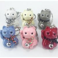 Zinklegierung Schlüsselanhänger, mit Acryl, Vermögen-Katze, silberfarben plattiert, für Frau, keine, frei von Nickel, Blei & Kadmium, 30x110mm, verkauft von PC