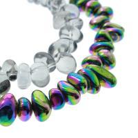 Natürlicher Quarz Perlen Schmuck, Klumpen, bunte Farbe plattiert, keine, 13x8x8mm-8x7x6mm, Bohrung:ca. 1mm, verkauft per ca. 15.3 ZollInch Strang