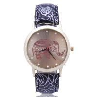 Damen Armbanduhr, Zinklegierung, mit PU Leder & Glas, goldfarben plattiert, für Frau, keine, frei von Nickel, Blei & Kadmium, 39mm, Länge:ca. 9.5 ZollInch, verkauft von PC