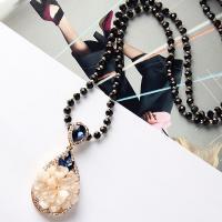 Zinklegierung Pullover Halskette, mit Kristall, plattiert, für Frau & facettierte & mit Strass, keine, verkauft per ca. 29.9 ZollInch Strang