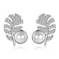 CRYSTALLIZED™ Crystal Pearl Earring, 925 Sterling Silber, mit CRYSTALLIZED™ Kristall Perlen, Blatt, platiniert, für Frau & mit kubischem Zirkonia, 12x16mm, verkauft von Paar