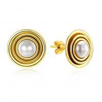 925 Sterling Silber Ohrstecker, mit CRYSTALLIZED™ Kristall Perlen, flache Runde, vergoldet, für Frau, 12.50x12.50mm, verkauft von Paar