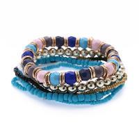 Zinklegierung Armband-Set, Ohrring & Halskette, mit Seedbead & Harz, plattiert, mehrschichtig & elastisch & für Frau, keine, Länge:ca. 8.6 ZollInch, 5SträngeStrang/setzen, verkauft von setzen
