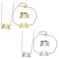 Edelstahl Schmucksets, Armband & Ohrring & Halskette, mit Verlängerungskettchen von 2Inch, 1Inch, Hand, plattiert, Oval-Kette & für Frau, keine, 24x13mm, 1.5mm, 23x13mm, 1.5mm, 14x15mm, Länge:ca. 16 ZollInch, ca. 7 ZollInch, verkauft von setzen