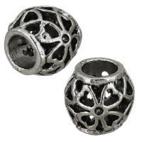 Zinklegierung Perlen Einstellung, Trommel, antik silberfarben plattiert, hohl, frei von Nickel, Blei & Kadmium, 11x10x11mm, Bohrung:ca. 5.5mm, Innendurchmesser:ca. 1mm, 50PCs/Menge, verkauft von Menge