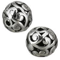 Zinklegierung hohle Perlen, Trommel, antik silberfarben plattiert, 11x10.50x11mm, Bohrung:ca. 2mm, 50PCs/Menge, verkauft von Menge