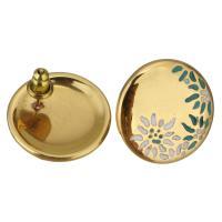 Edelstahl Ohrringe, goldfarben plattiert, für Frau & Emaille, 18mm, verkauft von Paar