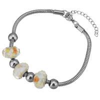 Edelstahl European Armband, mit Lampwork, mit Verlängerungskettchen von 2lnch, Schlangekette & für Frau, originale Farbe, 9x14mm, 3mm, verkauft per ca. 8 ZollInch Strang