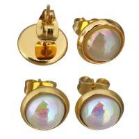 Edelstahl Ohrringe, mit Harz, goldfarben plattiert, für Frau, keine, 10mm, 12PaarePärchen/Menge, verkauft von Menge