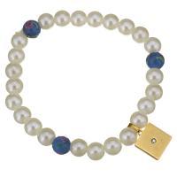 Edelstahl Armband, mit Lampwork & Glasperlen, goldfarben plattiert, für Frau & mit Strass, weiß, 12x14mm, 8mm, verkauft per ca. 8 ZollInch Strang