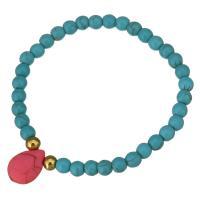 Edelstahl Armband, mit Synthetische Türkis, goldfarben plattiert, für Frau, blau, 12x16mm, 6mm, verkauft per ca. 8 ZollInch Strang