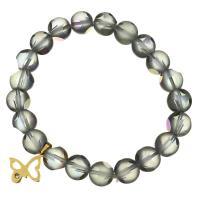 Glasperlen Armband, Edelstahl, mit Glasperlen, Schmetterling, goldfarben plattiert, für Frau & mit Strass & satiniert, blaugrün, 16x18mm, 10mm, verkauft per ca. 8 ZollInch Strang